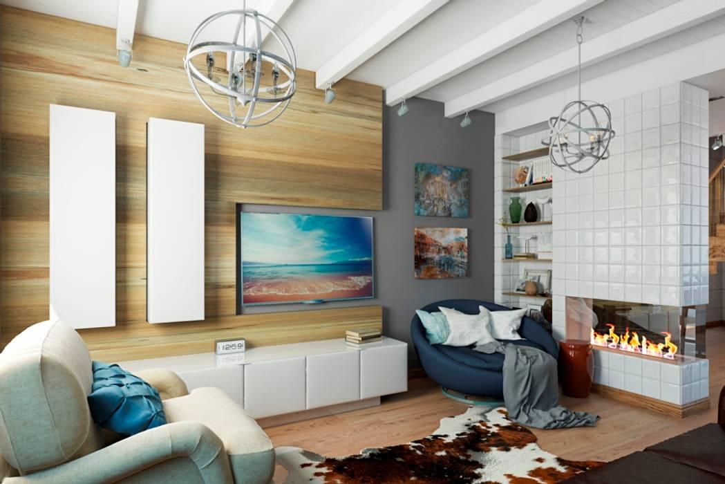 СТИЛЬНЫЕ ПРИЧУДЫ: Гостиная в . Автор – Дизайн студия Алёны Чекалиной, Лофт
