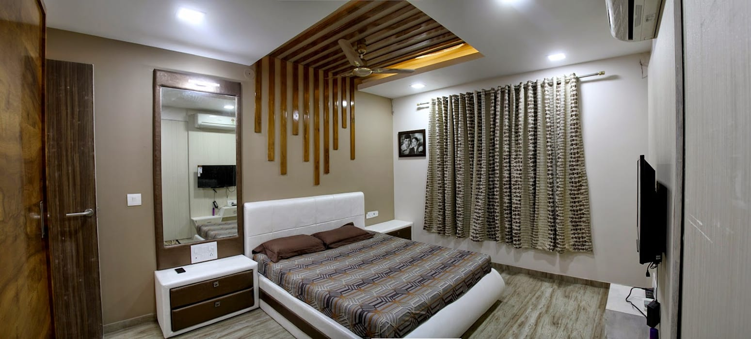 3BHK - Interior 9th Floor Flat @Bharuch Modern style bedroom by SkyGreen Interior Modern