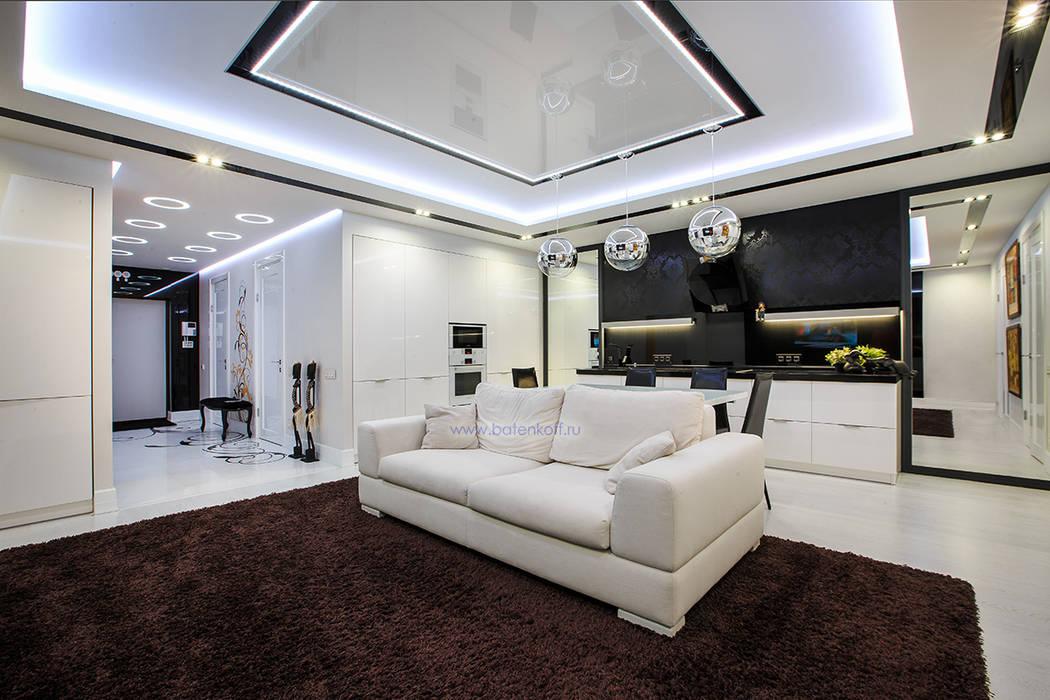 Фото реализованной гостиной в современном стиле homify Кухня в стиле минимализм Бумага Белый