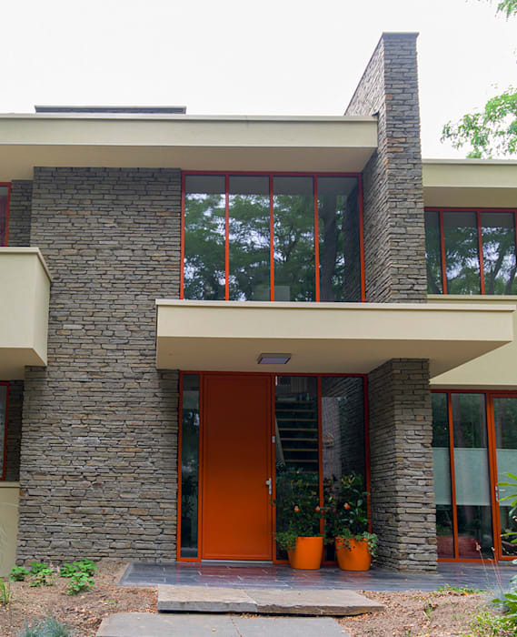 STROOM architecten Modern Houses Aluminium/Zinc Orange