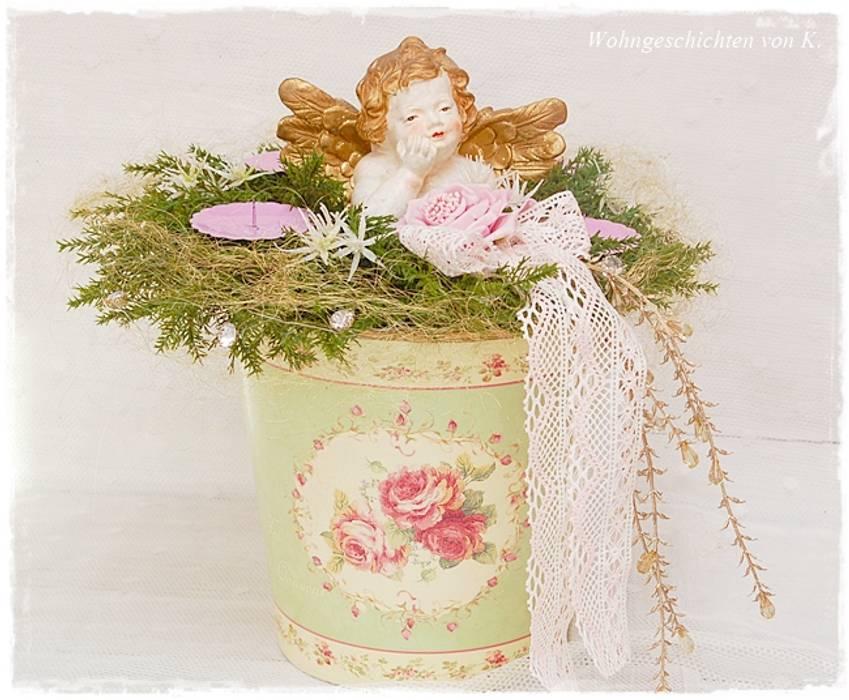 adventskranz engel rosa shabby chic wohnzimmer von. Black Bedroom Furniture Sets. Home Design Ideas