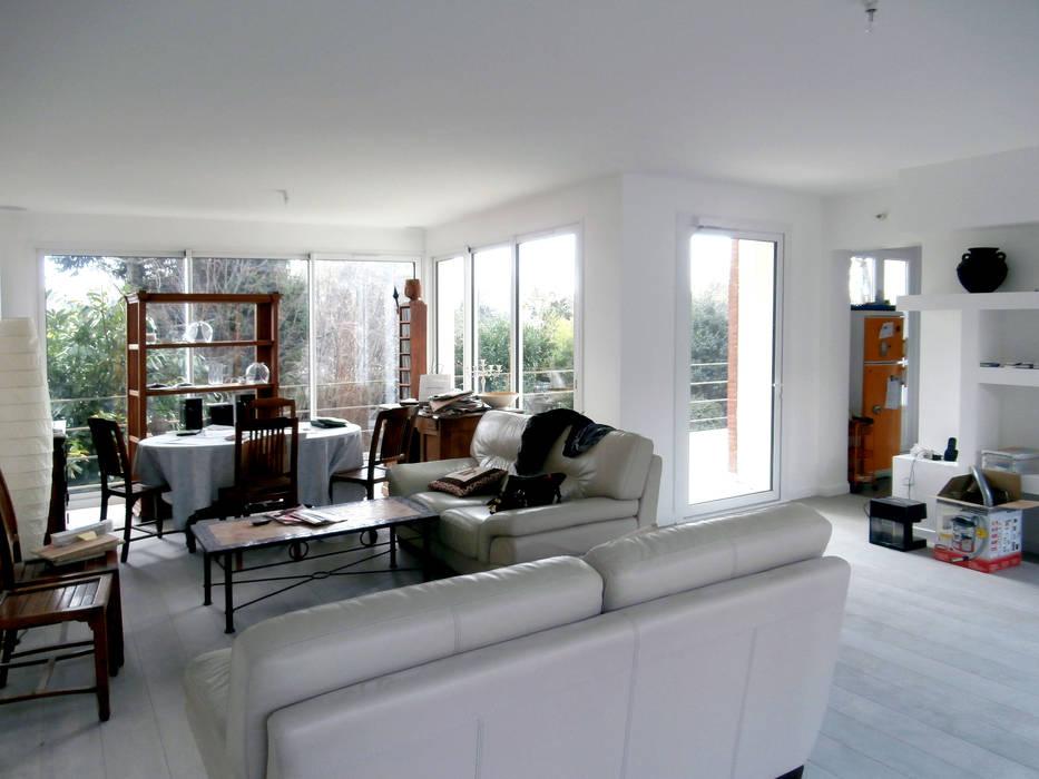 Extension Contemporaine à Meudon Olivier Stadler Architecte Salon moderne Blanc