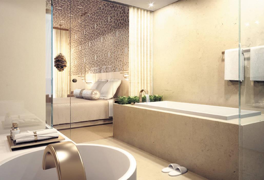 Interiores Classic King Room Sofitel, Emirados Árabes Unidos Hotéis eclécticos por ASVS Arquitectos Associados Eclético