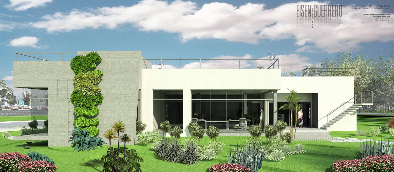 Vista Lateral Sur. Oficina Experience Center. 2015: Jardines de estilo  por Eisen Arquitecto