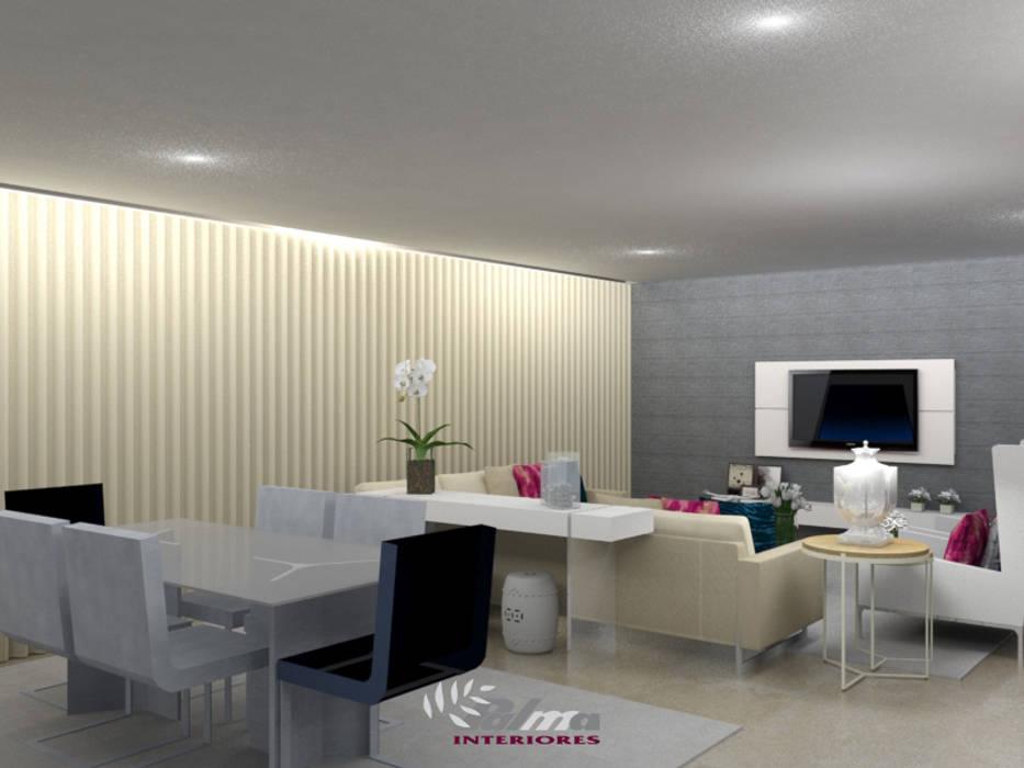 Habitação Unifamiliar: Sala de jantar  por Palma Interiores,