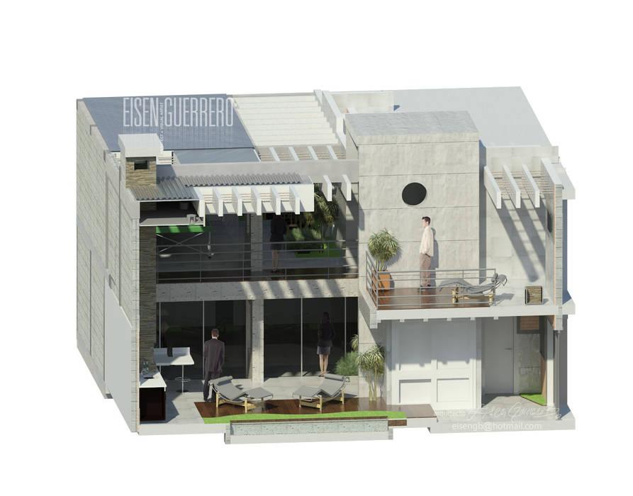 Vista Isometria corte 3d transversal. Balcones y terrazas de estilo minimalista de Eisen Arquitecto Minimalista