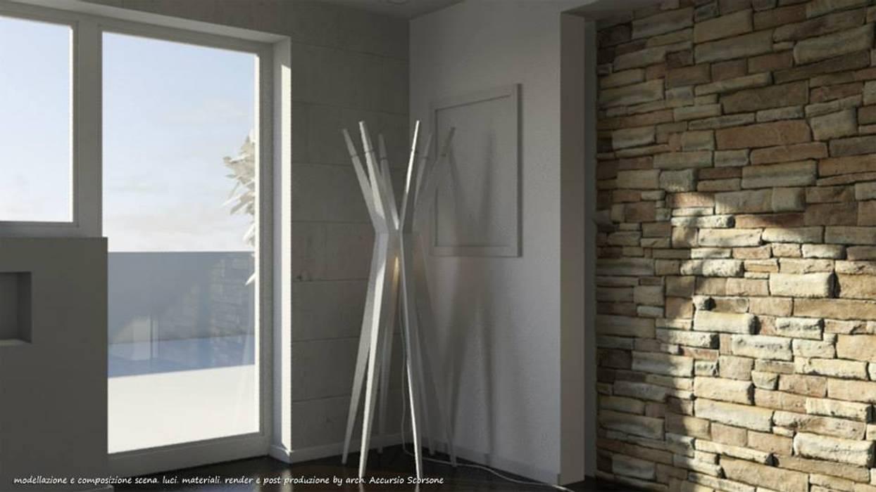 Project villa monofamiliare: Soggiorno in stile in stile Minimalista di Studio di Architettura