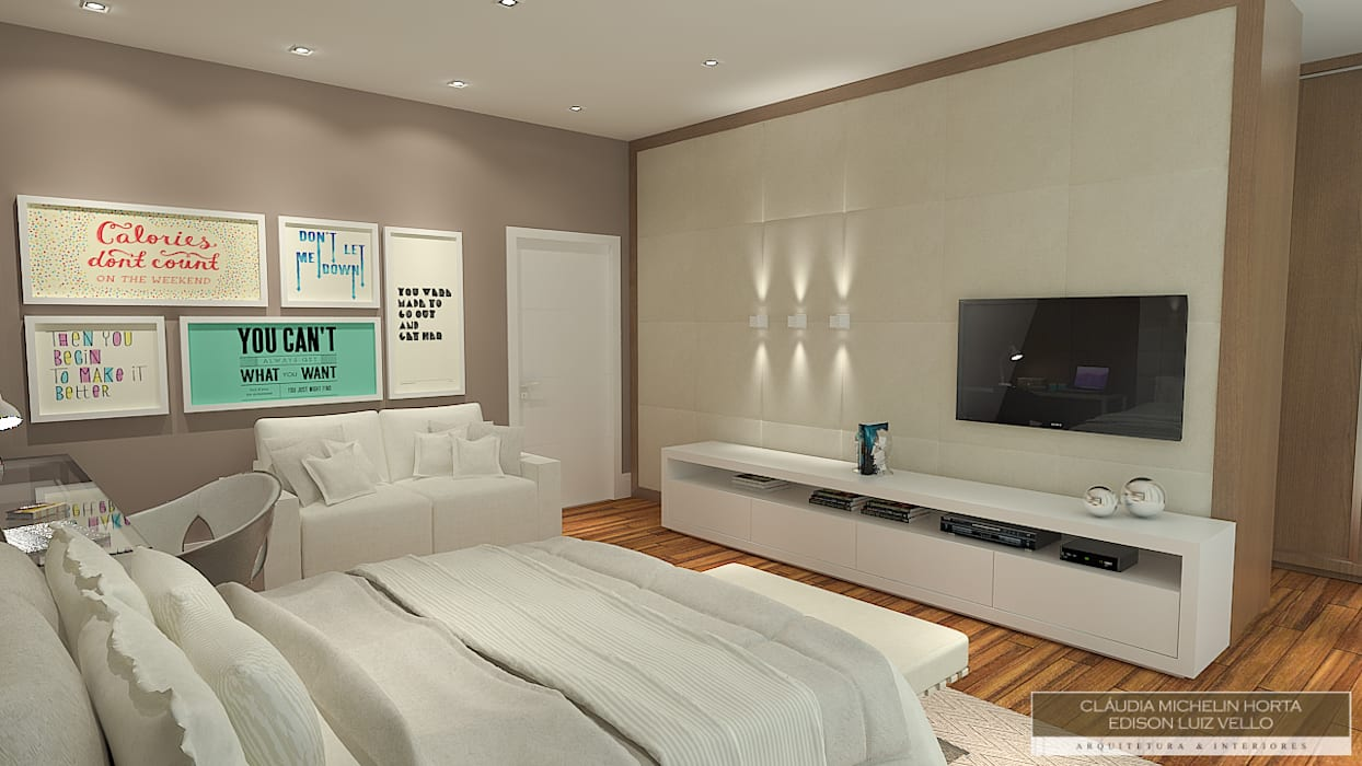 Bedroom by Horta e Vello Arquitetura e Interiores, Modern Wood Wood effect
