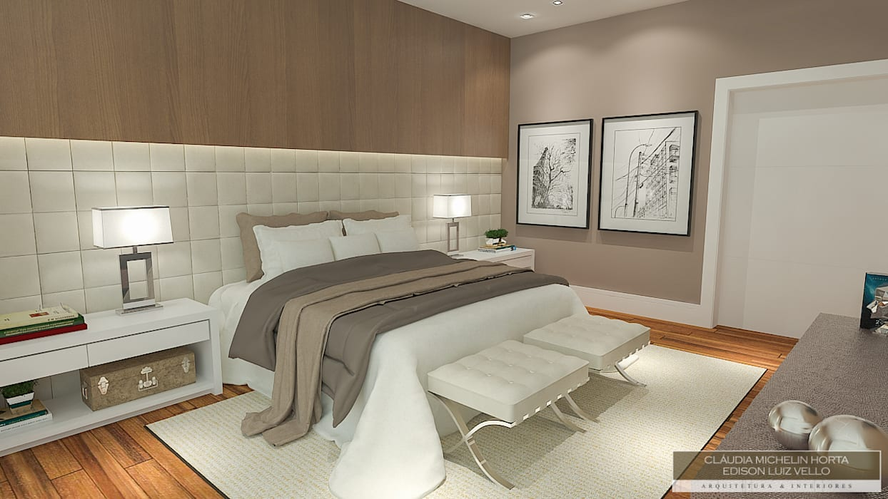 Residência contemporânea Horta e Vello Arquitetura e Interiores Quartos modernos Madeira Bege