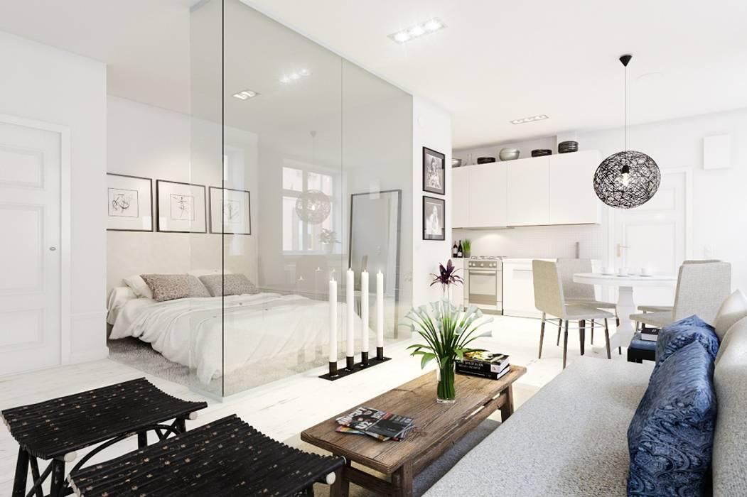 Квартира-студия в скандинавском стиле Гостиная в скандинавском стиле от Eugene Chekhov Скандинавский