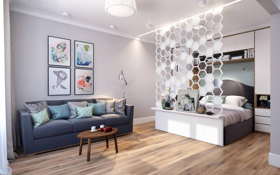 Медовая геометрия_гостиная в современном стиле Гостиная в скандинавском стиле от CO:interior Скандинавский