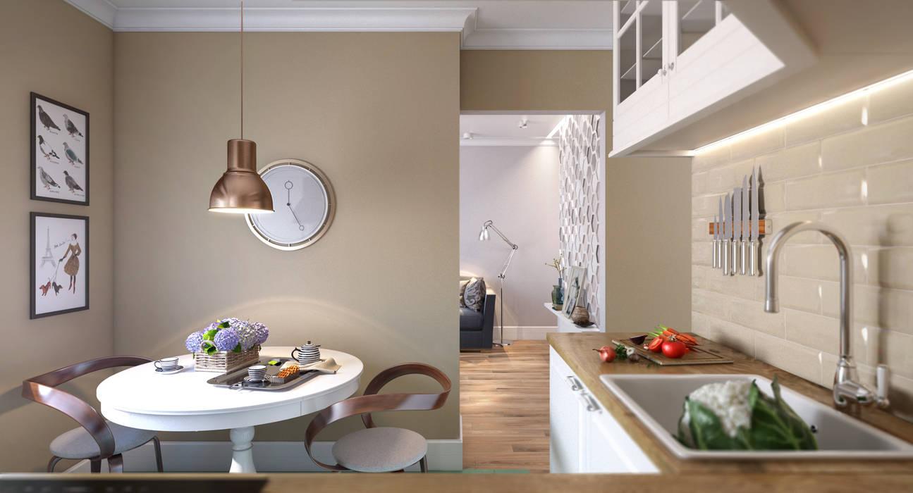 Медовая геометрия_кухня в современном стиле Кухня в скандинавском стиле от CO:interior Скандинавский
