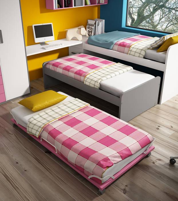 Dormitorio Juvenil con sistema compacto de 3 camas Andar por Casa Dormitorios infantiles Camas y cunas
