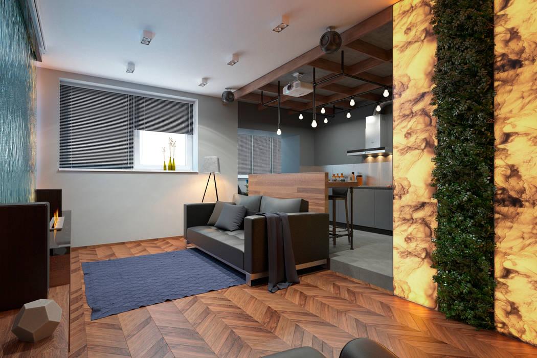 Дизайн-проект квартиры для молодого архитектора Гостиная в стиле лофт от Катя Волкова Лофт