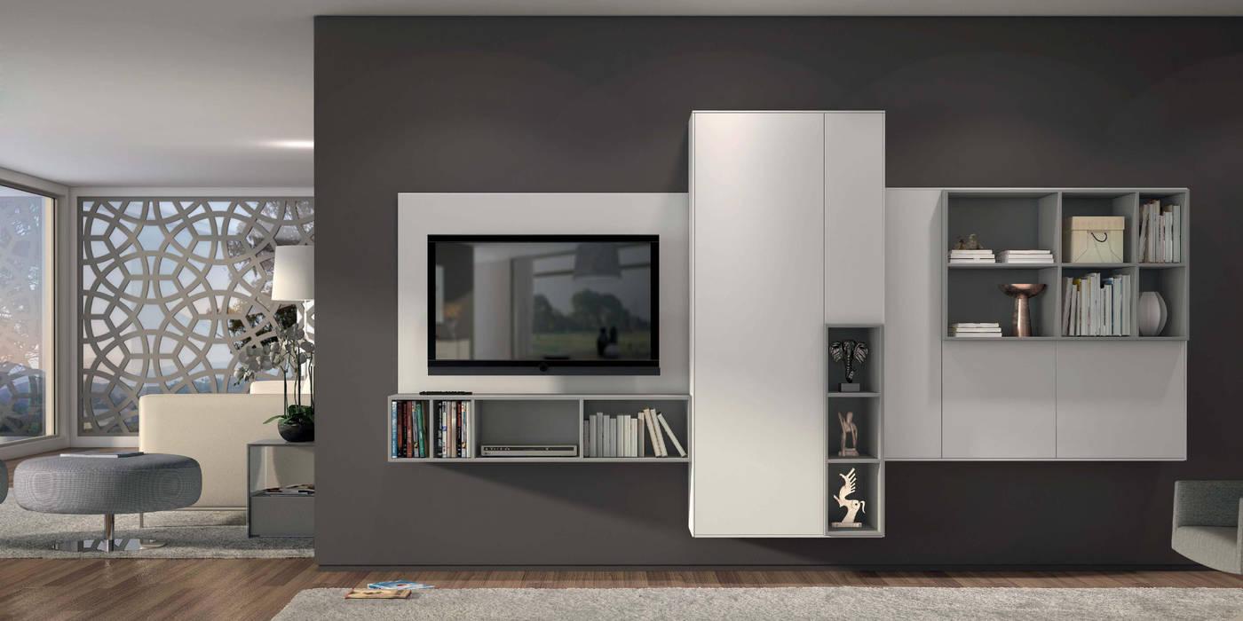 Estantes de sala de estar Living room shelves www.intense-mobiliario.com  Klein http://intense-mobiliario.com/product.php?id_product=3653: Sala de estar  por Intense mobiliário e interiores;