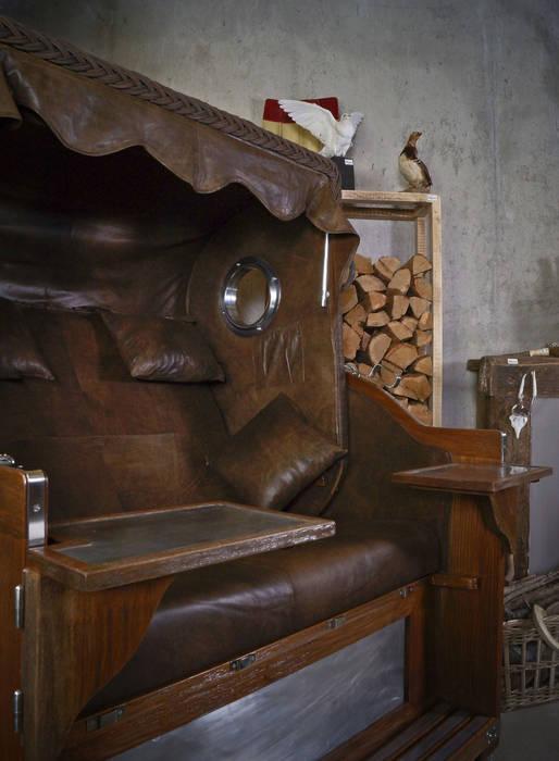 Vintage Leder Strandkorb von Luxury Leather Kolonial Holz Holznachbildung