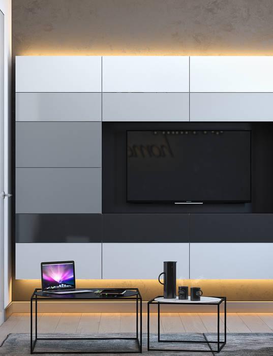 SVAI Studio Salas de entretenimiento de estilo minimalista