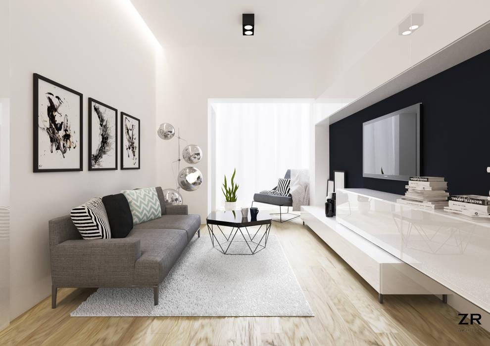 Alsemberg: Salon de style  par ZR-architects, Moderne