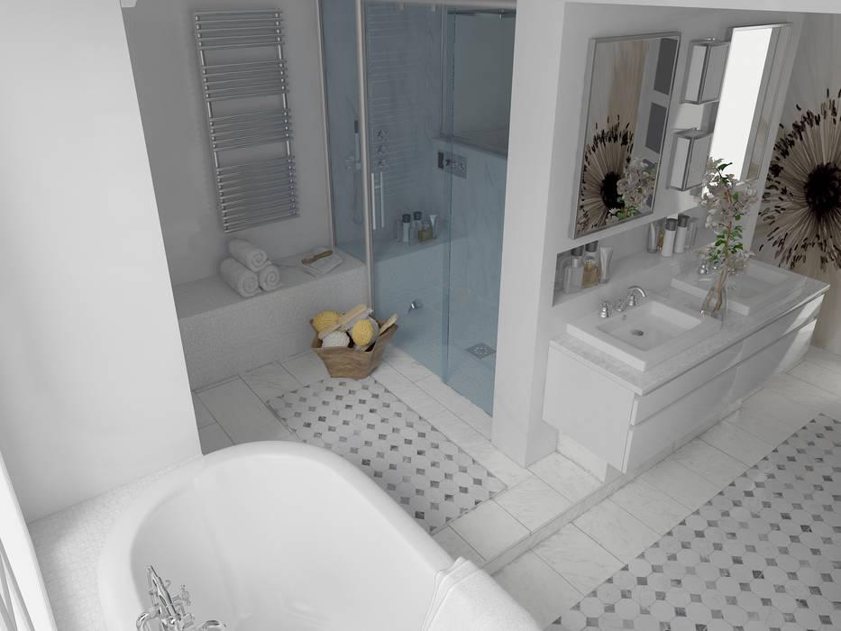 Vue générale depuis la baignoire: salle de bain de style par ...