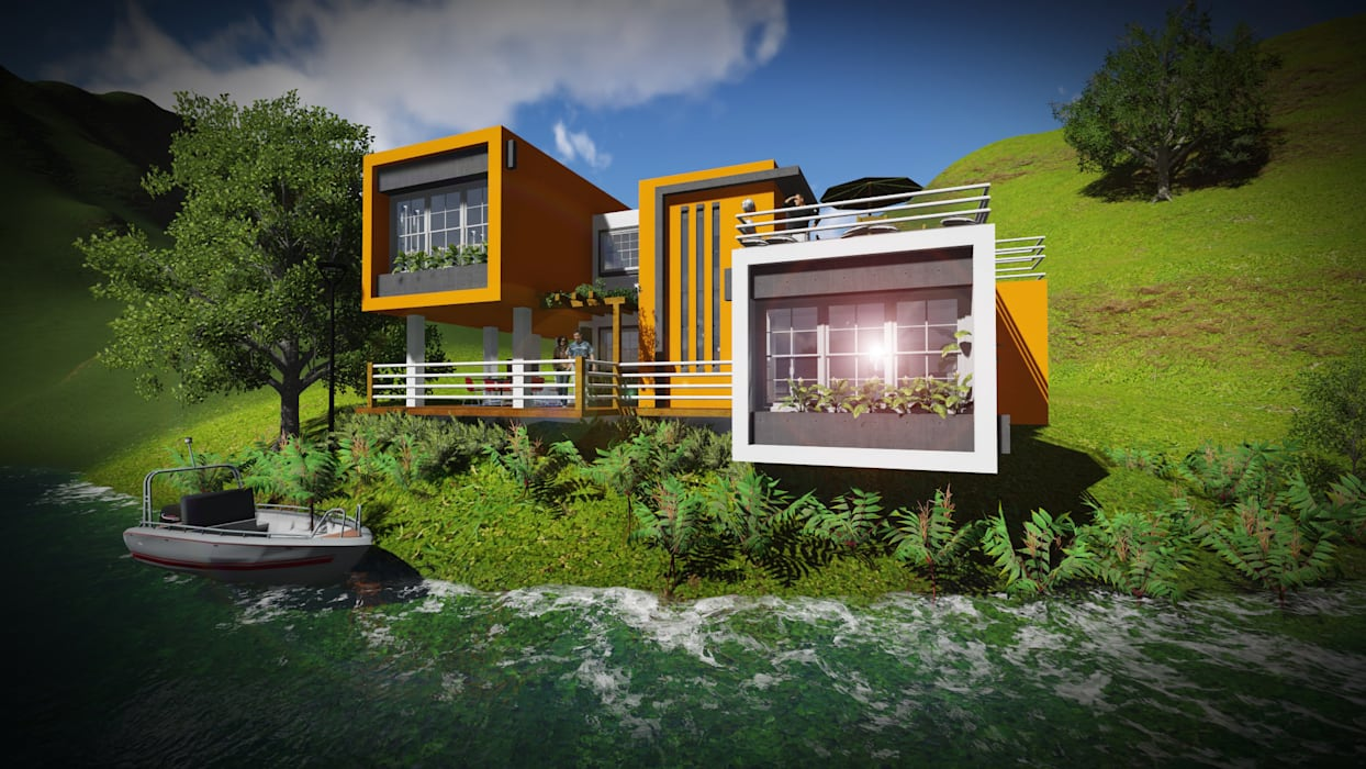 A orilla del Lago Casas de estilo minimalista de John J. Rivera Arquitecto Minimalista