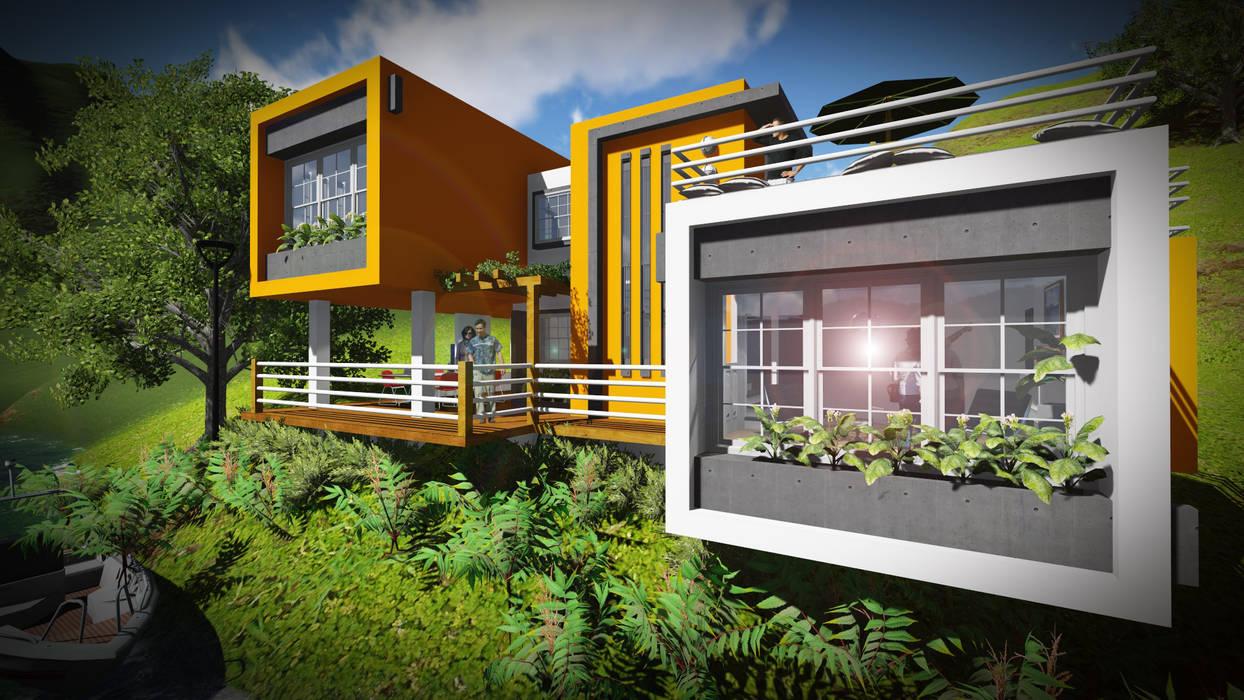 Contraste en el color... Limpieza en las formas.: Casas de estilo  por John J. Rivera Arquitecto