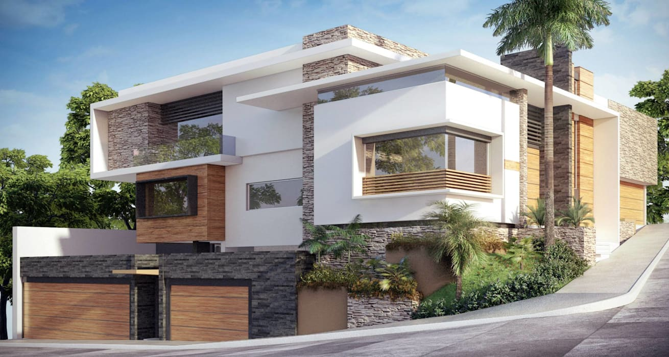 FACHADA: Casas de estilo  por OLLIN ARQUITECTURA , Moderno