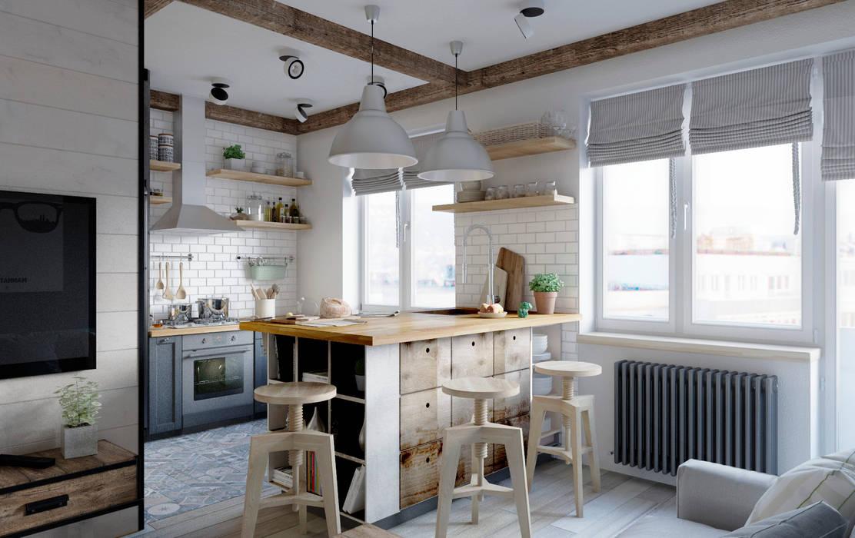 Elena Arsentyeva Cocinas de estilo escandinavo Madera Gris