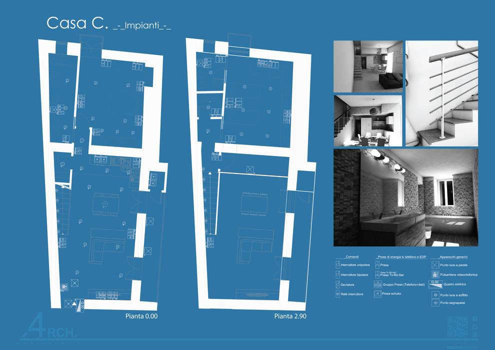 Casa C._napoli_centro storico: Soggiorno in stile in stile Moderno di 4rch Gruppo di Architettura
