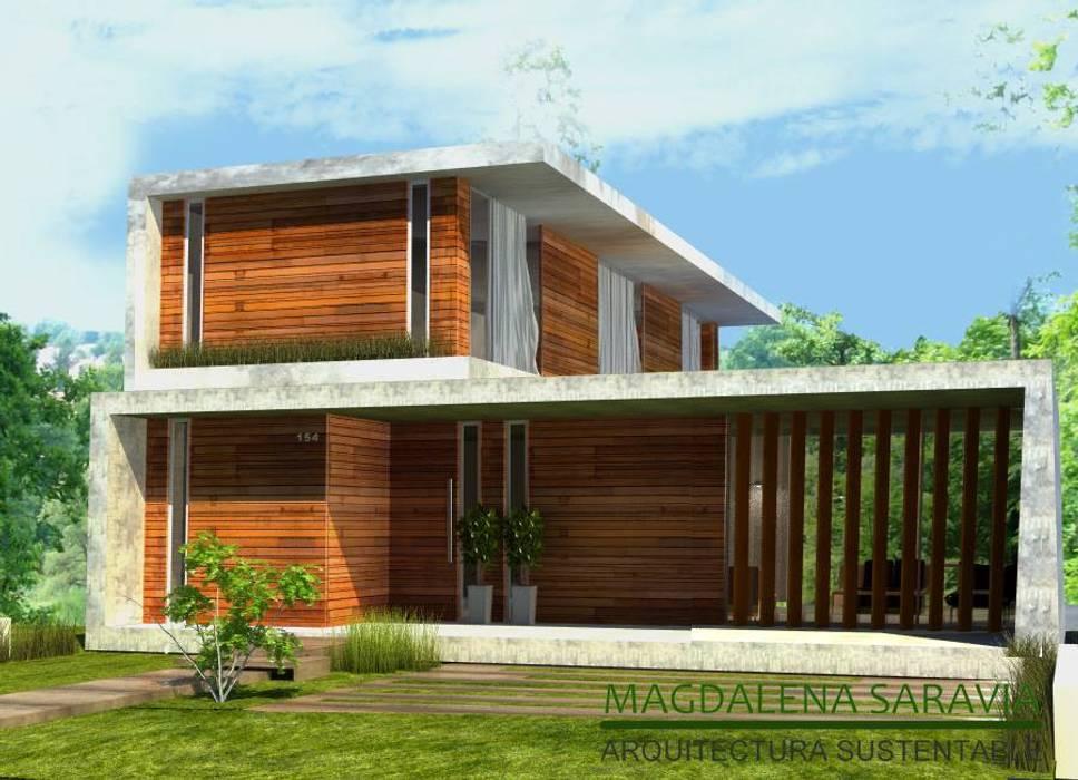 Vivienda B1: Casas de estilo  por Arq Magdalena Saravia - Estudio de Arquitectura Sustentable -,Moderno