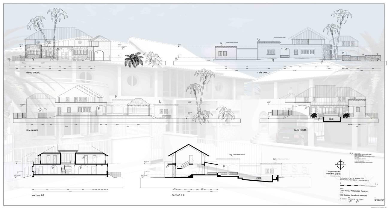 gevels en doorsneden:  Huizen door architectenbureau Aerlant Cloin BNA