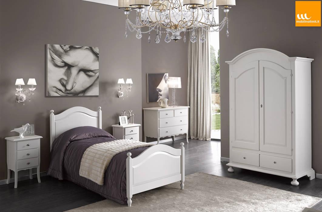 Camera da letto singola in stile arte povera bianca: camera da letto ...