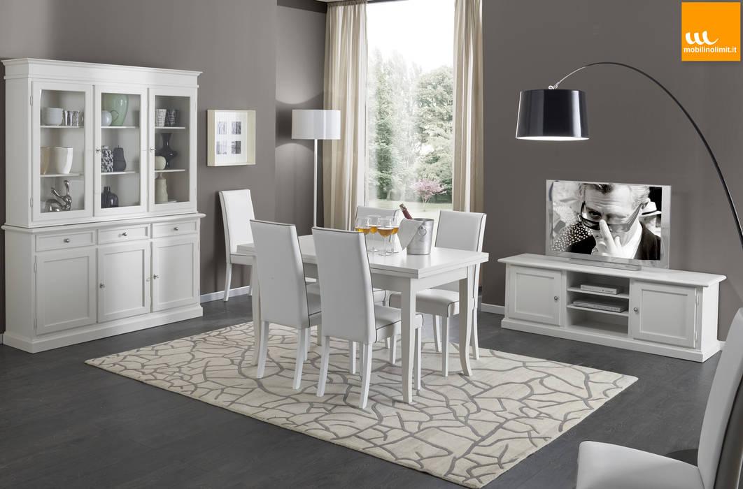 Sala da pranzo in arte povera bianca con porta tv: soggiorno in ...