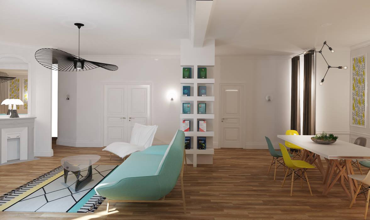 niches/Bibliotheques: Salon de style de style Moderne par Agence KP