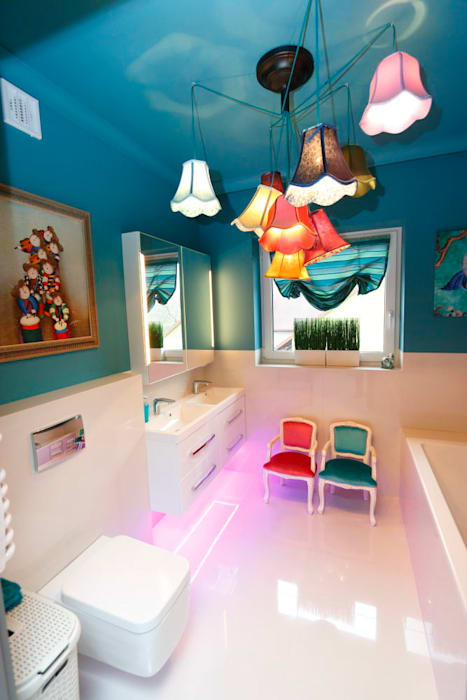 livinghome wnętrza Katarzyna Sybilska Modern style bathrooms Stone Turquoise
