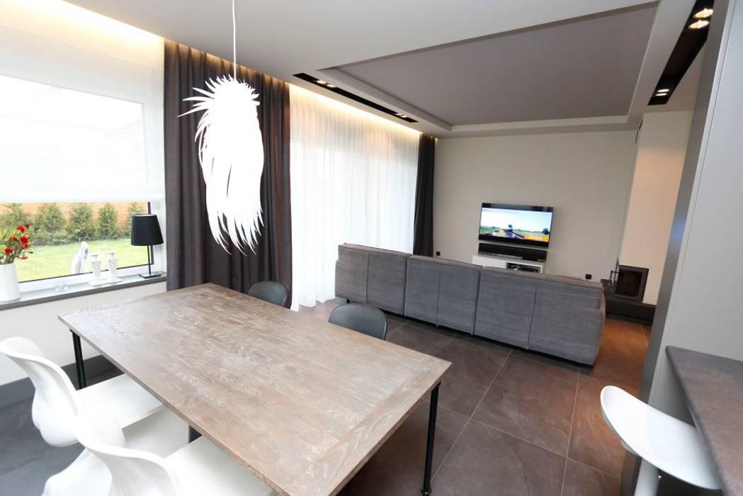 livinghome wnętrza Katarzyna Sybilska Modern Dining Room Wood Grey