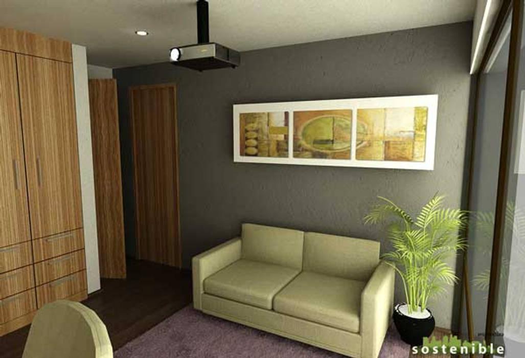 Casa Coyoacán Monserrat Salas de estar modernas por ARQUITECTURA SOSTENIBLE Moderno