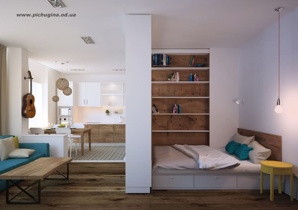 Tatyana Pichugina Design Scandinavian style bedroom White