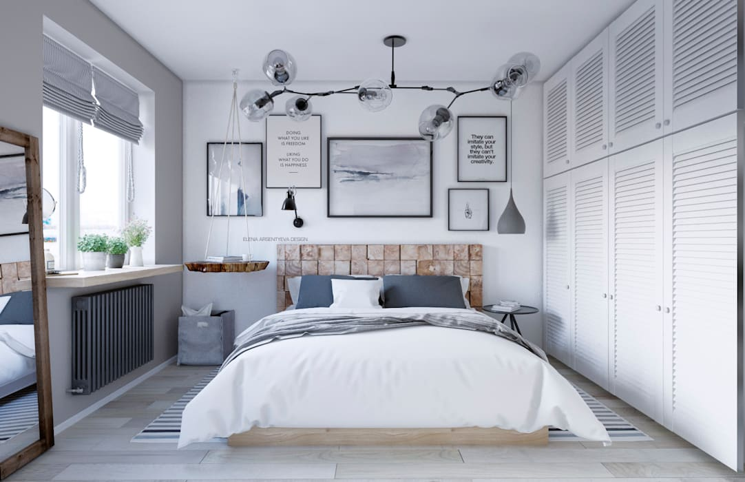 Scandinavian style bedroom by Elena Arsentyeva Scandinavian Wood Wood effect