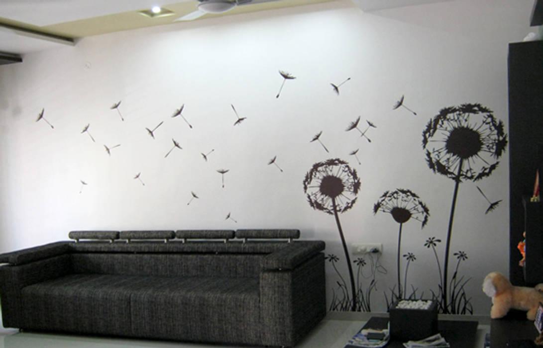 Living Room Graphics Modern living room by BION Creations Pvt. Ltd. Modern