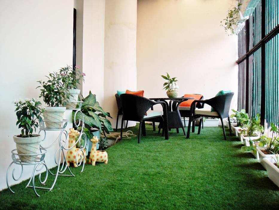 Residence Design, Sandesh Vihar H5 Interior Design Modern balcony, veranda & terrace