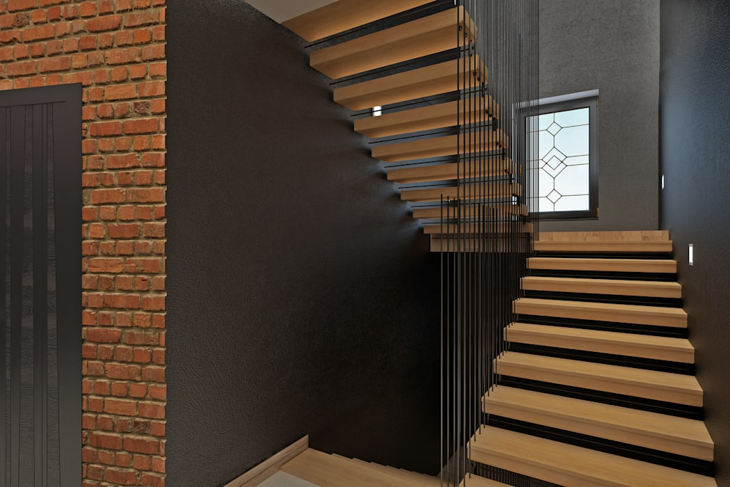YES-designs 工業風的玄關、走廊與階梯
