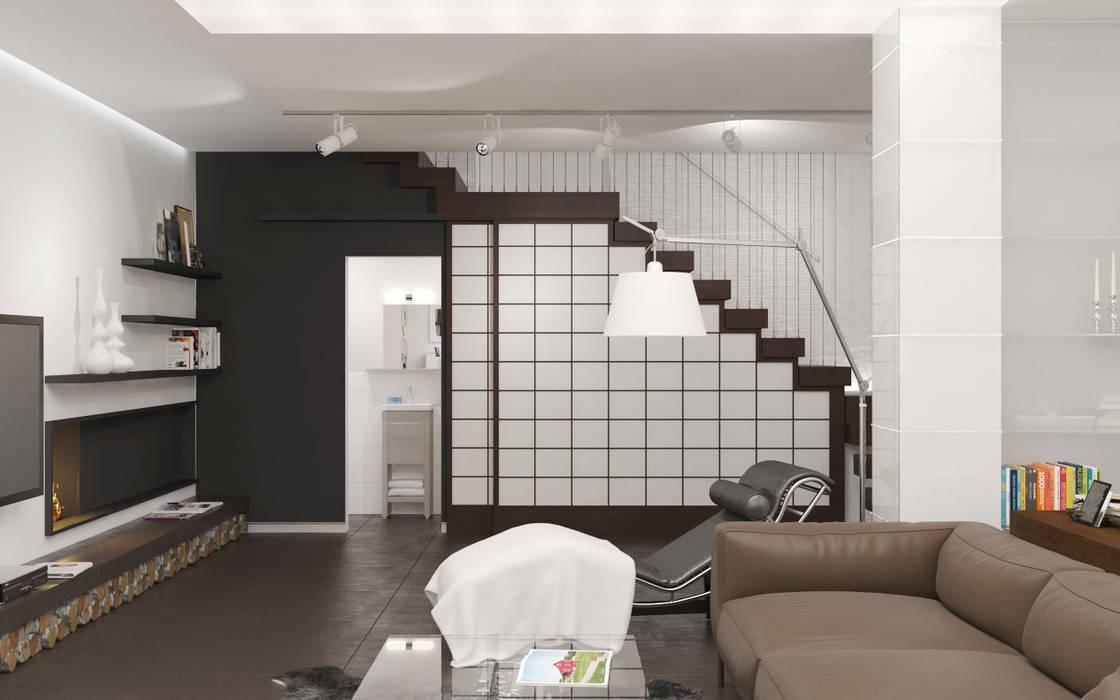 Minimalist corridor, hallway & stairs by Brama Architects Minimalist Glass