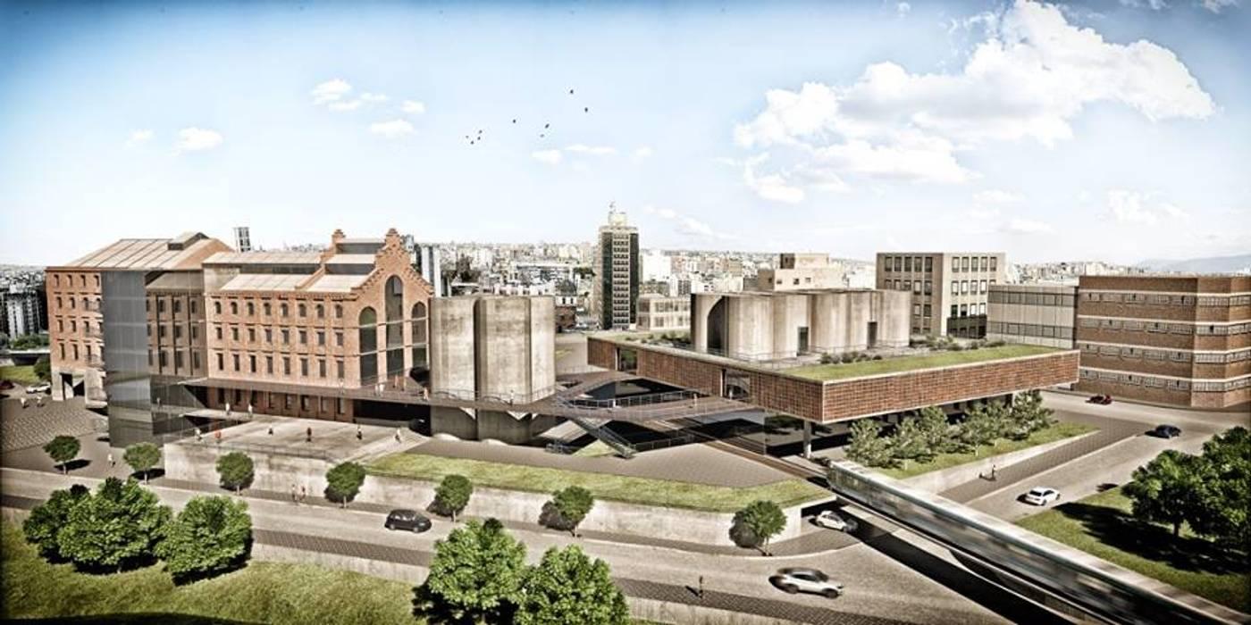 Vista en Vuelo de pájaro del complejo comercial y cultural Centros de convenciones de estilo industrial de OPAT ARQUITECTURA Industrial Ladrillos