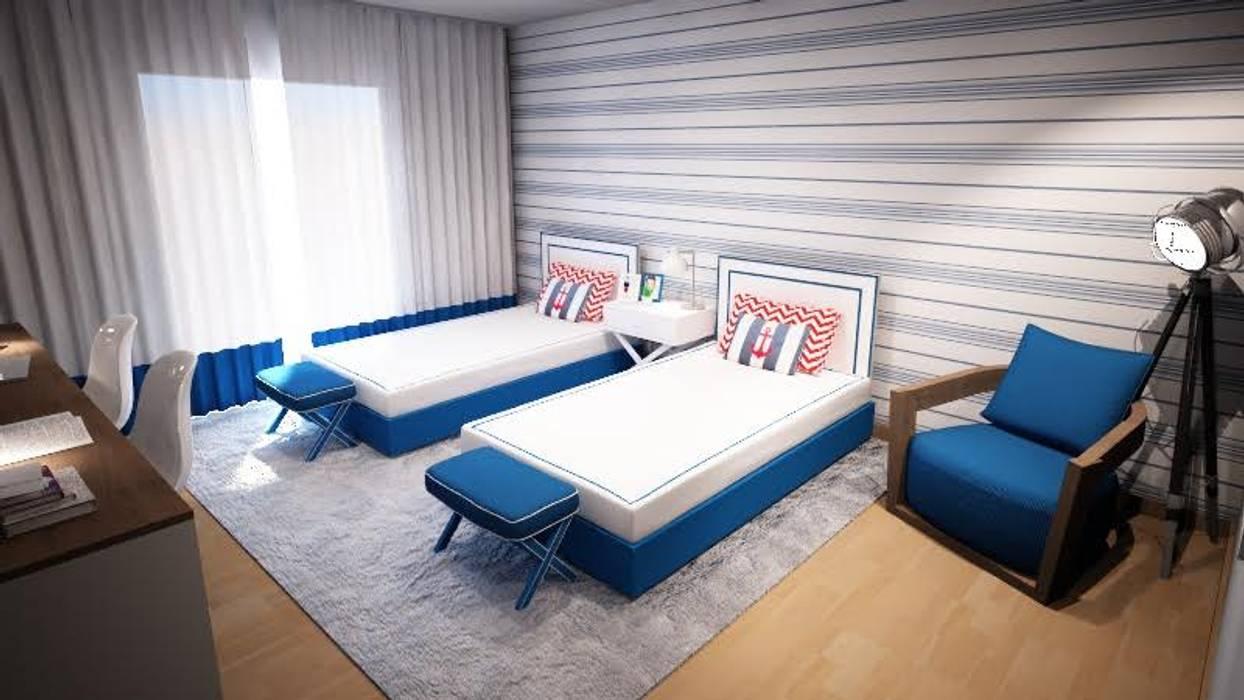 Navy Room Quartos de criança escandinavos por Ângela Pinheiro Home Design Escandinavo Madeira Acabamento em madeira