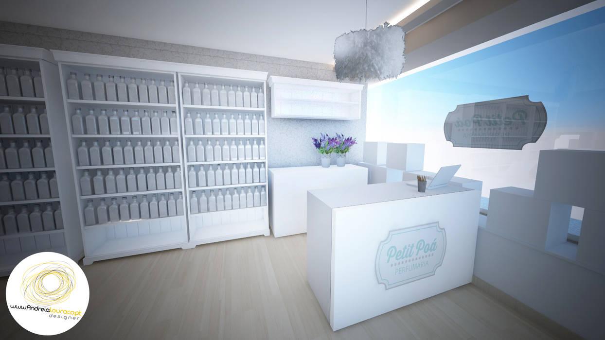 zona de atendimento: Lojas e espaços comerciais  por Andreia Louraço - Designer de Interiores (Contacto: atelier.andreialouraco@gmail.com)