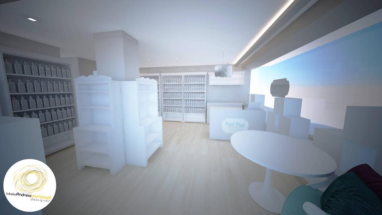 Entrada Lojas e Espaços comerciais modernos por Andreia Louraço - Designer de Interiores (Contacto: atelier.andreialouraco@gmail.com) Moderno Madeira Acabamento em madeira