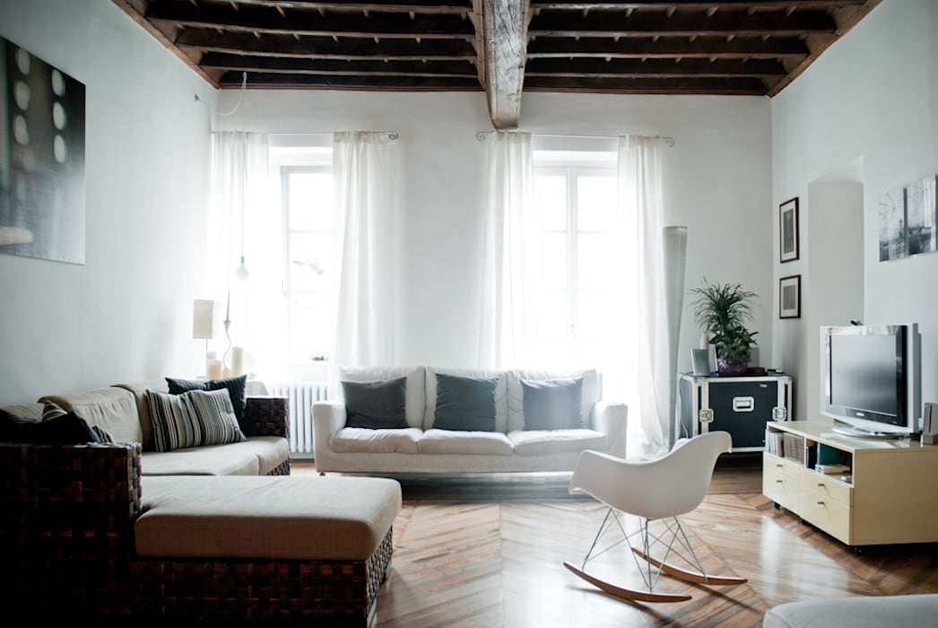 Living room by con3studio, Scandinavian