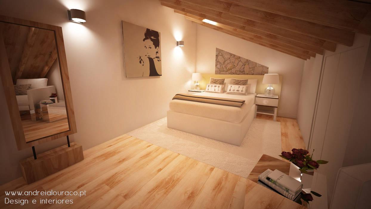 Decoração Mezanino (Quarto) by Andreia Louraço Design e Interiores: Quartos  por Andreia Louraço - Designer de Interiores (Contacto: atelier.andreialouraco@gmail.com)