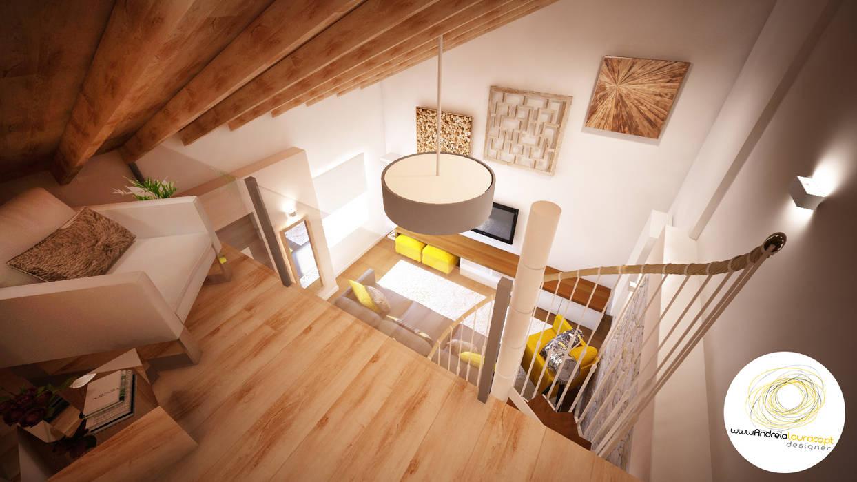 Decoração Mezanino (vista do quarto) by Andreia Louraço Design e Interiores: Terraços  por Andreia Louraço - Designer de Interiores (Contacto: atelier.andreialouraco@gmail.com),