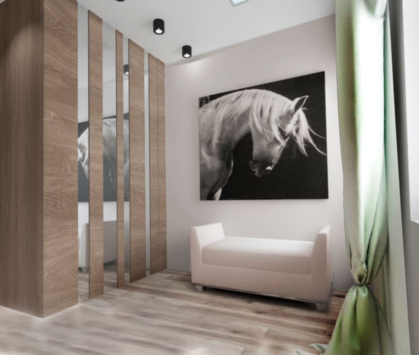 Pasillos y vestíbulos de estilo  por Tatiana Zaitseva Design Studio,